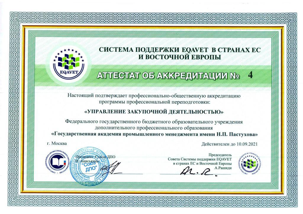 Аттестат ГАПМ Закупки ПП рус